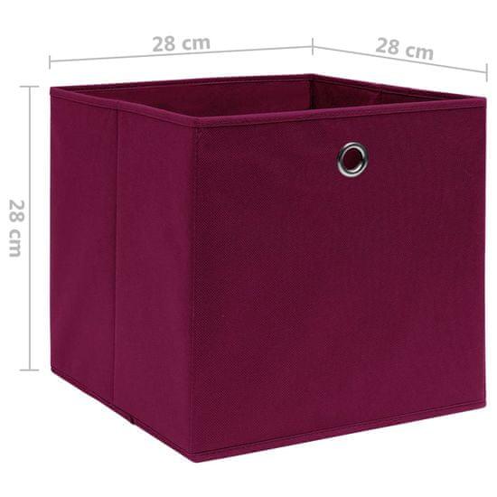 shumee Škatle 4 kosi netkano blago 28x28x28 cm temno rdeče