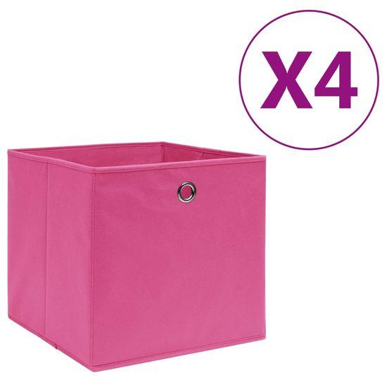 shumee Pudełka z włókniny, 4 szt., 28x28x28 cm, różowe