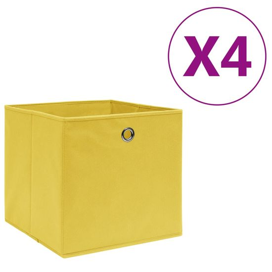 shumee Škatle 4 kosi netkano blago 28x28x28 cm rumene