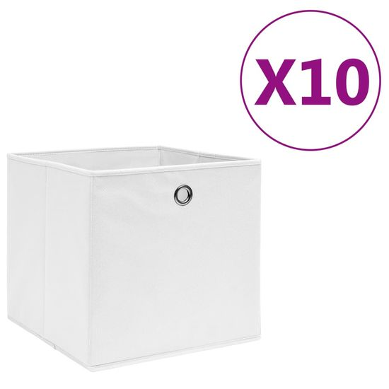 shumee netkane škatle 10 kosov 28x28x28 cm bela