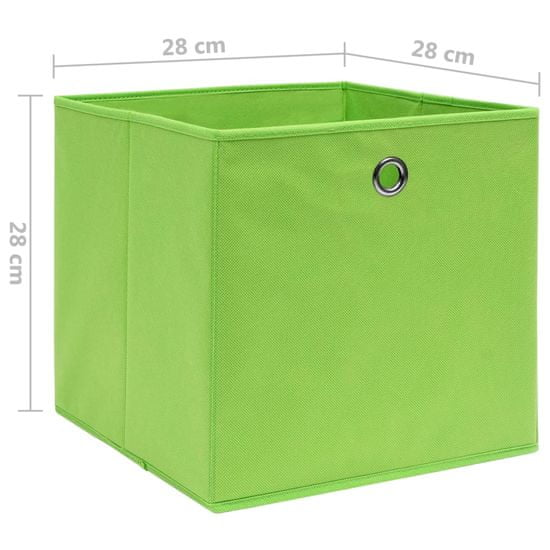 shumee Škatle 10 kosov netkano blago 28x28x28 cm zelene