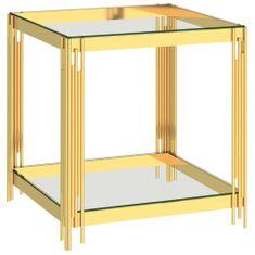 shumee Klubska mizica zlata 55x55x55 cm nerjaveče jeklo in steklo