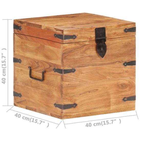 shumee tömör akácfa láda 40 x 40 x 40 cm