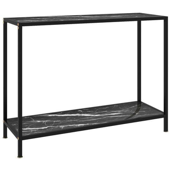 Petromila Konzolový stolík, čierny 100x35x75 cm, tvrdené sklo