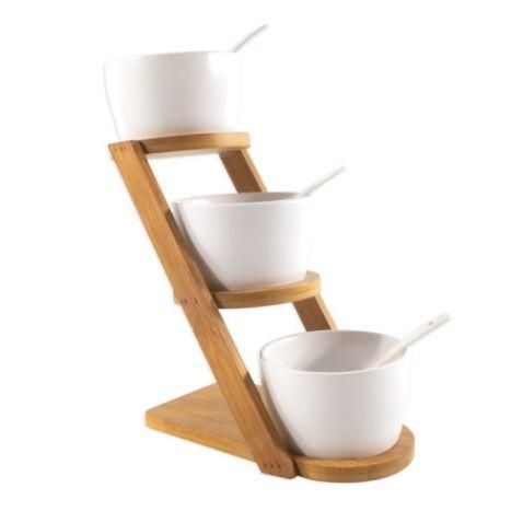 Koopman Porcelánové servírovacie misky 3 ks + lyžičky, stojan bambus