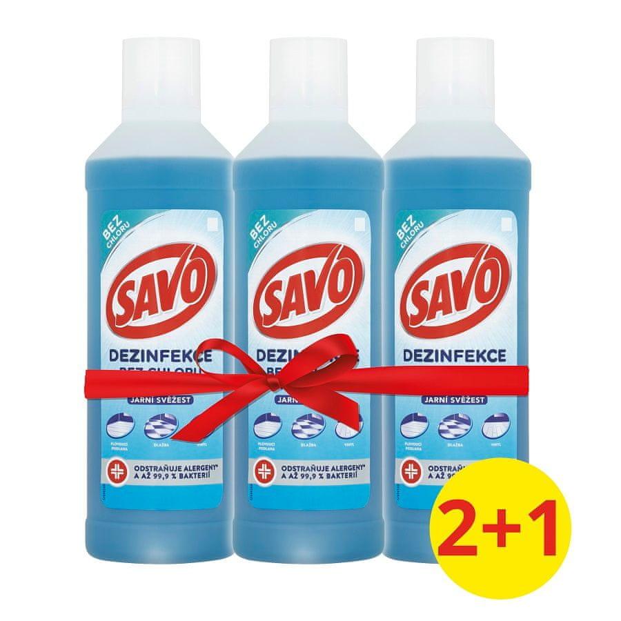 Savo Na podlahy dezinfekční prostředek bez chloru Jarní svěžest 3x 1 l
