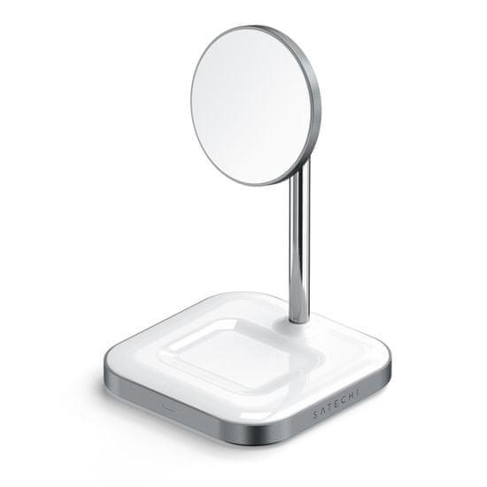 Satechi 2-in-1 Magnetic USB-C brezžična polnilna postaja, aluminij, bela