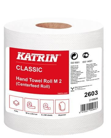 """Katrin Papírové utěrky """"CLASSIC M2"""", bílá, dvouvrstvé, 6 rolí"""