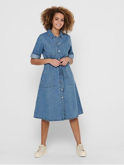 Jacqueline de Yong Dámské šaty JDYATHENA 15221228 Light Blue Denim