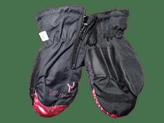 Dívčí palcové rukavice v černé barvě s růžovou částí Little princess se zipem.