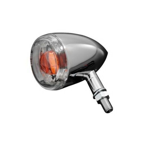 Highway-Hawk moto smerovka 60mm s čírou šošovkou, E-mark, chróm (1ks)