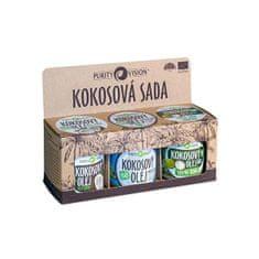 Purity Vision Kokos set (Raw kokosový olej, Panenský kokosový olej, Kokos ový olej bez vůně)