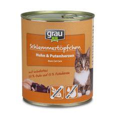 Grau konzerva za mačke piščanec & puranji srčki, brez žit, 800 g