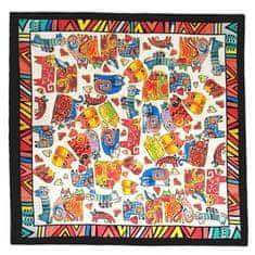 Marko-bijou Hedvábný šátek s malovanými kočkami - barevný