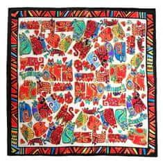 Marko-bijou Hedvábný šátek s malovanými kočkami - červený