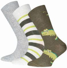 EWERS 3pack chlapeckých ponožek s krokodýlem 201296 23-26 zelená