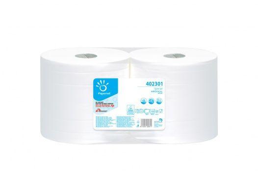 Papernet 402301 Priemyselná papierová utierka 302 m-2 vrstvá-2 role, 1000 útržkov, celulóza (2rolky/balenie)