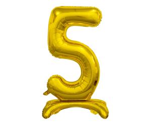 GoDan Folijski balon številke s stojeca 5 - zlato - 74 cm