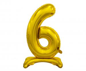GoDan Balon foliowy cyfra stojąca 6 - złoto - 74 cm