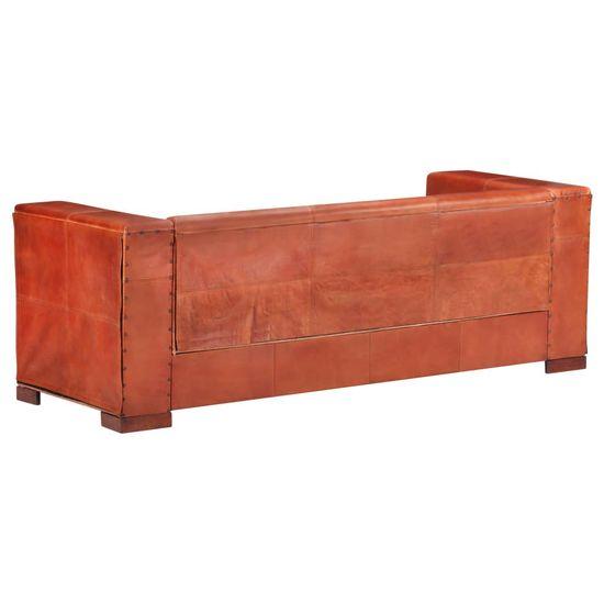shumee 3 sedežni kavč temno rjava naravno usnje
