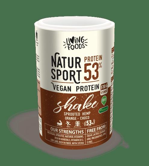 Living Foods Sport Vegan Protein Shake, pomeranč - čokoláda 510g - biologická superpotravina pro bílkovinné a keto diety