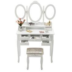Timeless Tools Tükrös fésülködő asztal székkel több típusban-Milano-fehér