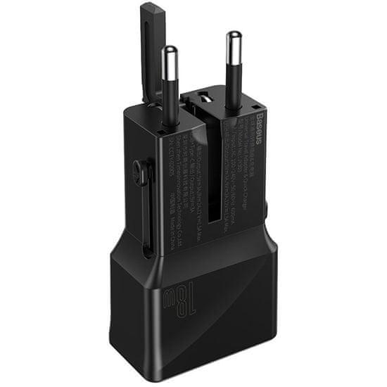 BASEUS PPS potovalni polnilni adapter (EU / US / UK / AU), 18 W, QC 3.0, črn