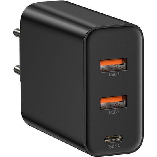 BASEUS Adapter UE do szybkiego ładowania PPS USB-C + 2 × USB-A 60 W CCFS-G01, czarny