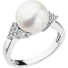 Evolution Group Stříbrný prsten s bílou říční perlou a zirkony 25002.1 (Obvod 52 mm) stříbro 925/1000