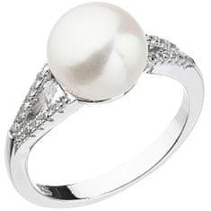 Evolution Group Delikatny pierścionek z białą rzeczną perłą i cyrkoniami 25003.1 (Obwód 52 mm) srebro 925/1000