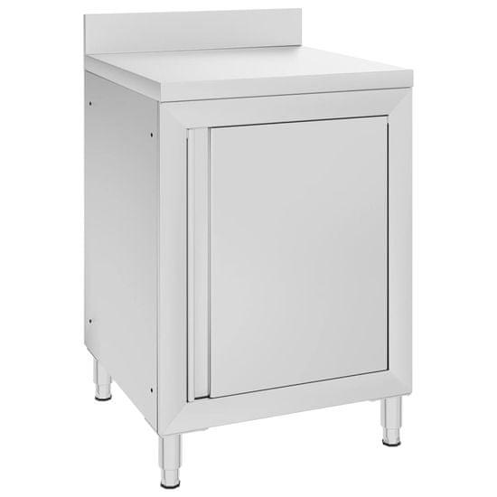 shumee Komercialna delovna miza z omarico 60x60x96 cm nerjaveče jeklo
