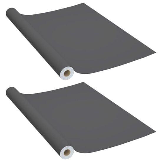 shumee Samolepilna folija za pohištvo 2 kosa siva 500x90 cm PVC