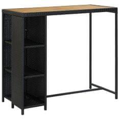 shumee barový stôl s poličkou čierny 120x60x110 cm poly ratan