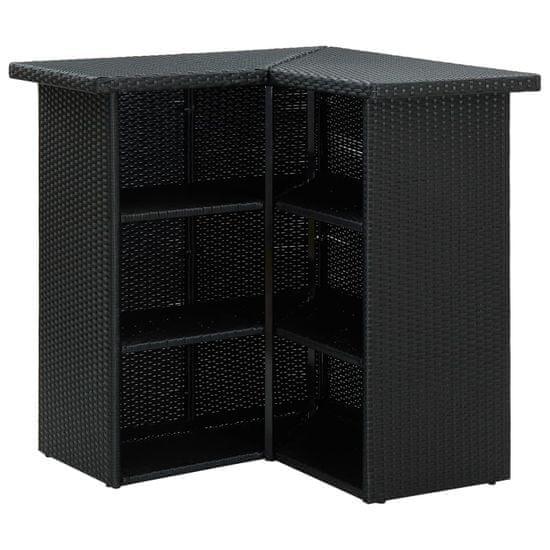 shumee fekete polyrattan sarok bárasztal 100 x 50 x 105 cm