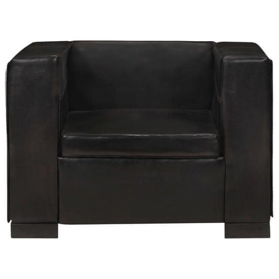 shumee stol za prosti čas Črno naravno usnje