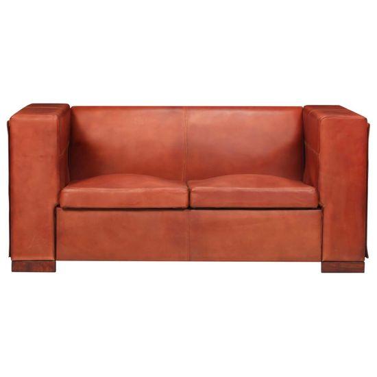 shumee 2 sedežni kavč temno rjava naravno usnje