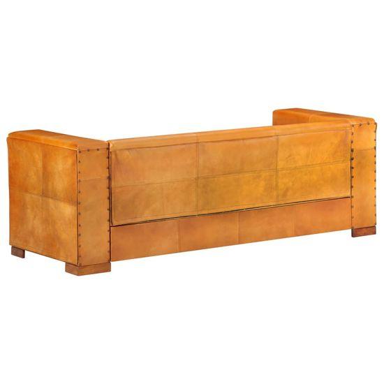 shumee 3-sedežni kavč svetlo rjavo naravno usnje