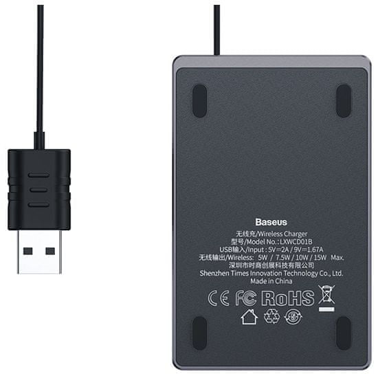 BASEUS Baseus ultra-vékony vezeték nélküli töltő 15W WX01B-01, fekete
