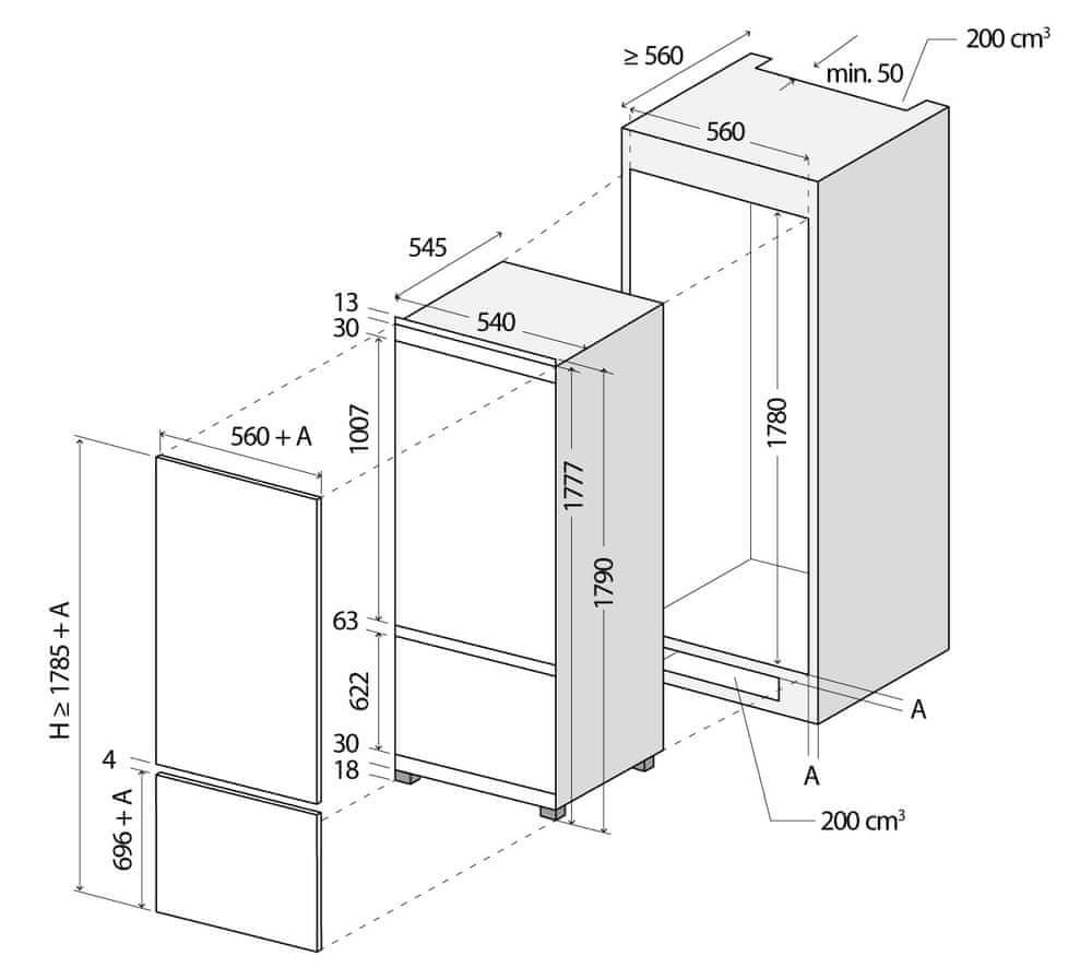 Concept vestavná lednička LKV5260