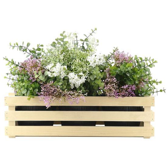 AMADEA Dřevěný obal na tři květináče, 47x17x15cm, dřevěný květináč