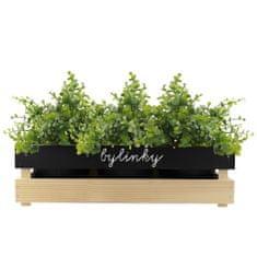 AMADEA Dřevěný obal na tři květináče s tabulkou pro psaní křídou, 47x17x15cm, dřevěný květináč Český výrobek