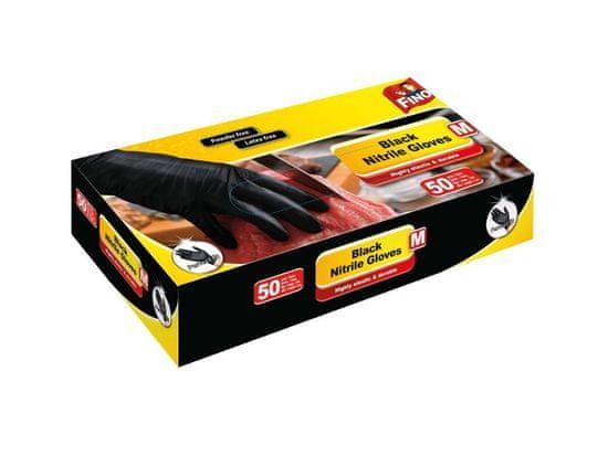 Fino Jednorázové nitrilové rukavice, černé, nepudrované, vel. M