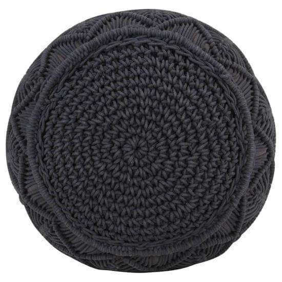 shumee Ręcznie robiony puf z makramy, antracytowy, 45 x 30 cm, bawełna
