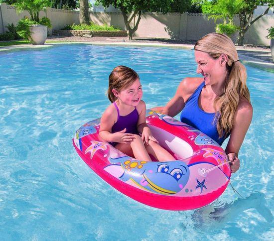 Bestway 34037 otroški napihljiv čoln z vrvjo, rdeč