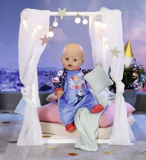 BABY born Birthday edition Žametni pajac, moder, 43 cm
