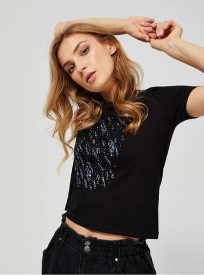 Moodo moodo černé tričko s flitry