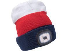 Extol Light Čepice s čelovkou 4x45lm, USB nabíjení, bílá/červená/modrá, univerzální velikost