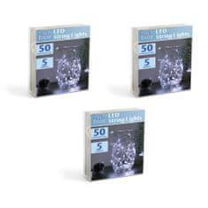 Family Christmas 3x 50 LED 5m baterijske božično - novoletne micro LED lučke 3 x AA hladno bele