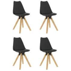 shumee jedálenské stoličky 4 ks, čierne PP a masívne bukové drevo