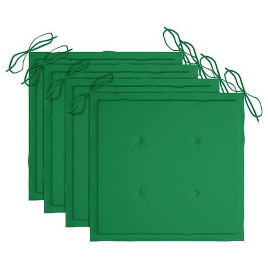 shumee 4 db összecsukható tömör tíkfa kerti szék párnákkal